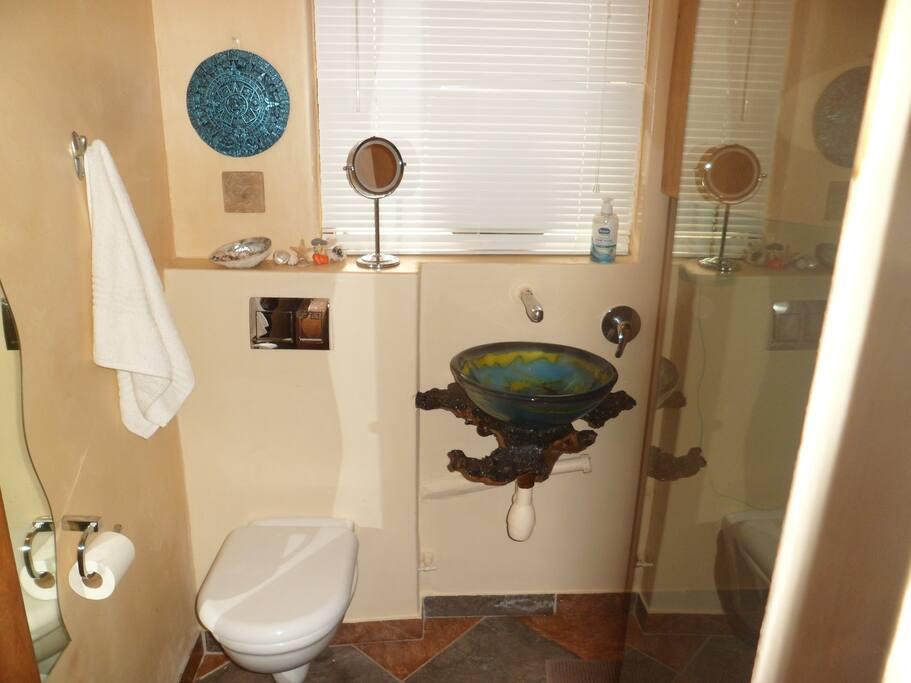 Modern bathroom with hairdryer
