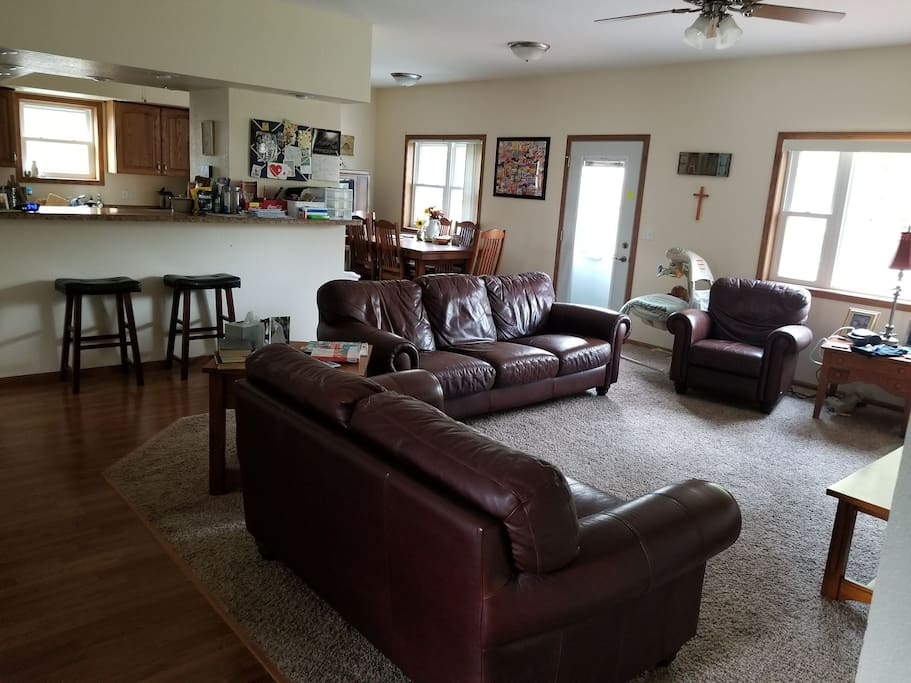 Living room, dining room, and kitchen. Available for you to share!