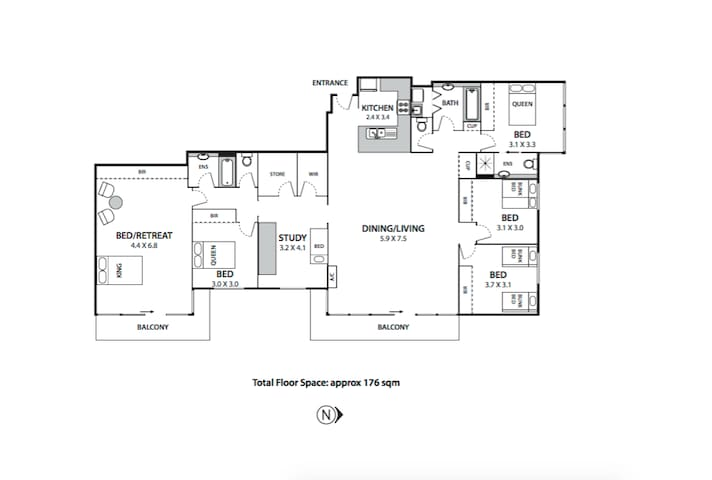 Floor plan with sizes and bed locations, Just look at all that SPACE! you will not get that anywhere else in the CBD!