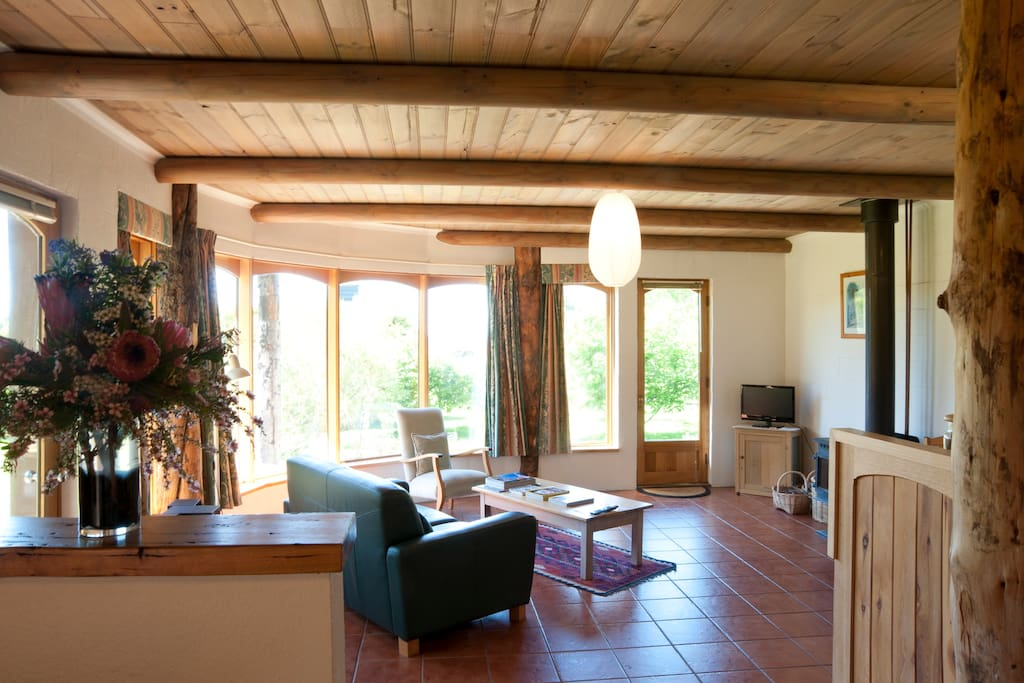 Sunny and warm living area with gorgeous rural and sea views