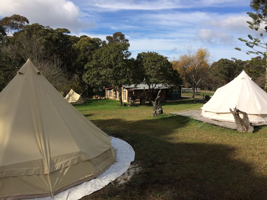 Bell tents and house