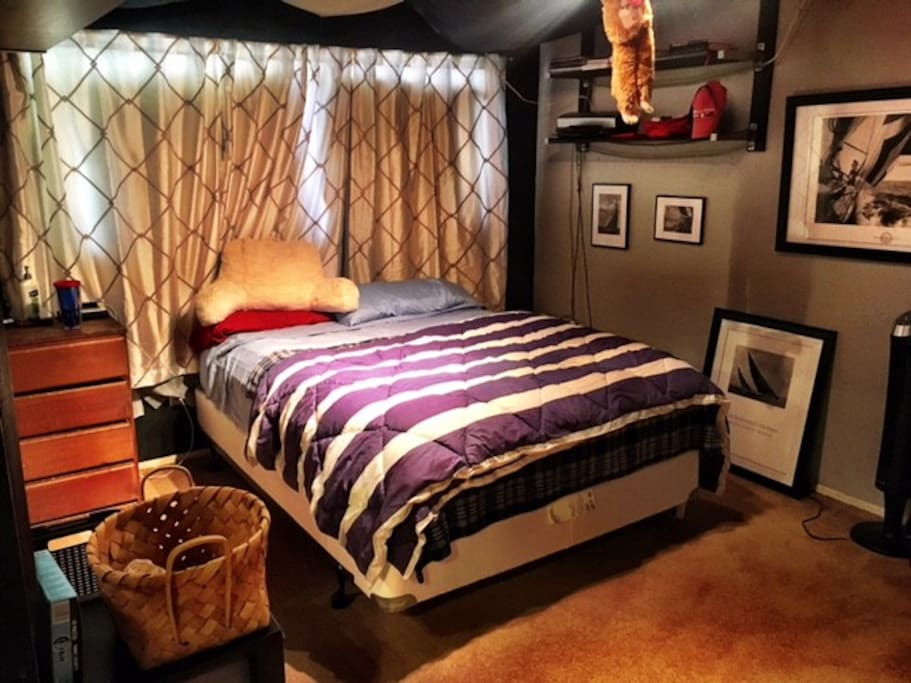 Master bedroom with walk-in closet, private bathroom, and desk area