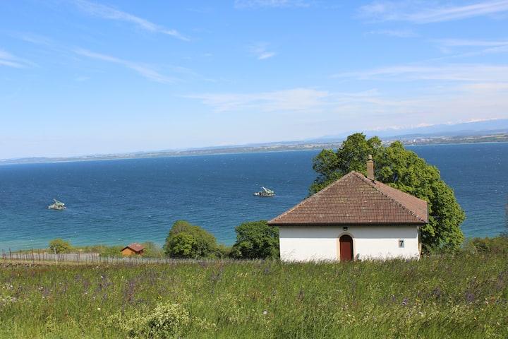 Maison avec vue sur le lac et les Alpes