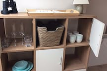 Cabinet with dining essentials