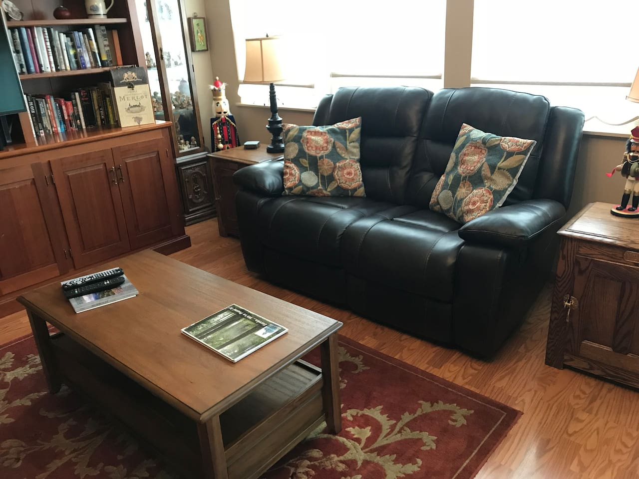 Comfy leather couch with recliners