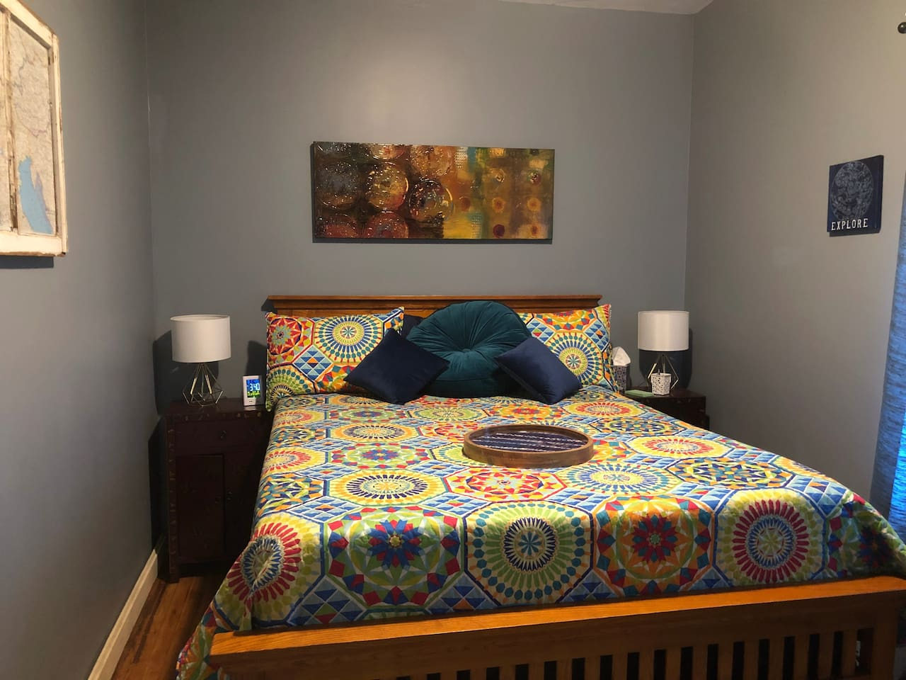 Bedroom 1 - side lamps and storage in side tables plus the alarm clock has a USB port to charge your devices.