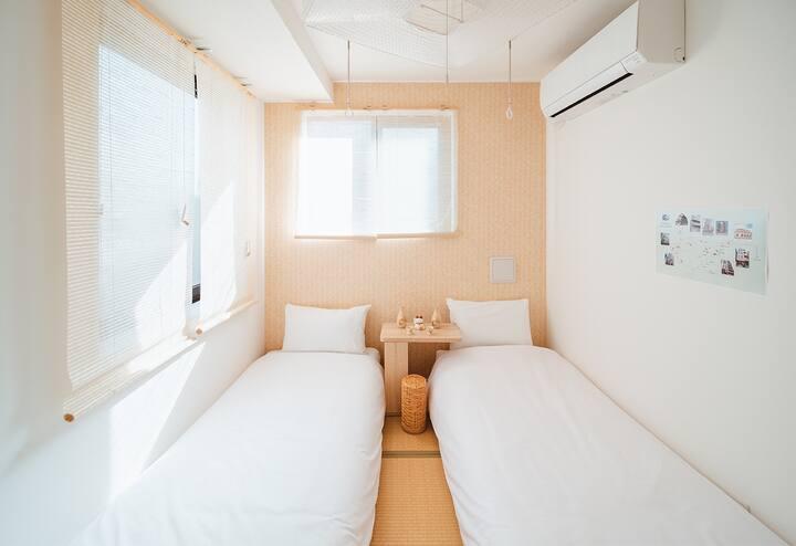【年初特价】地铁步行5分,新宿池袋银座涉谷直达,成田机场直达,和风双床(R403)