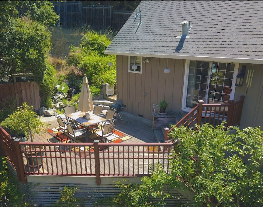 """A  Sky shot provided by """"House of Eight Media"""" drone looking in on the front deck"""