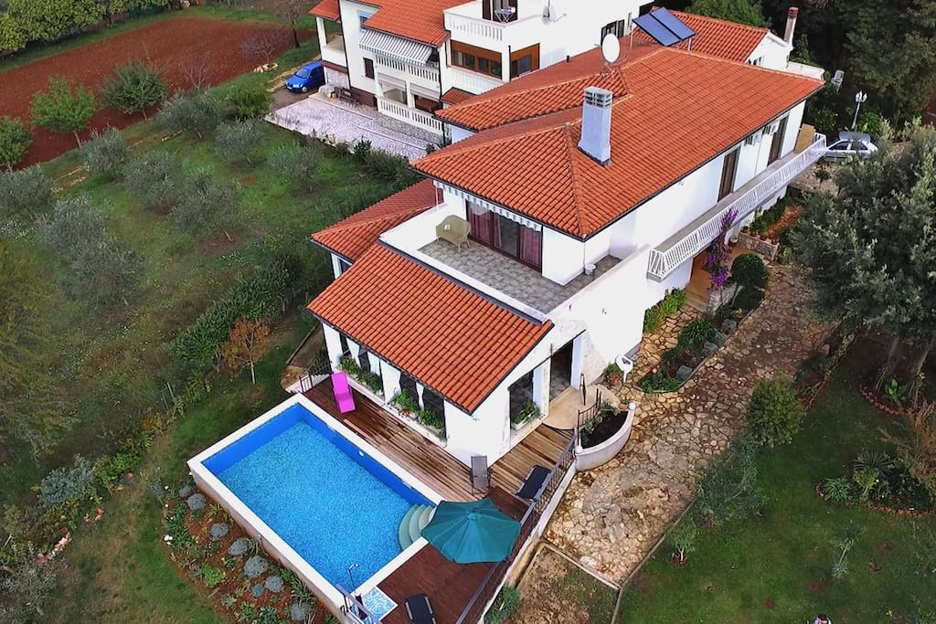 Bird view of the villa