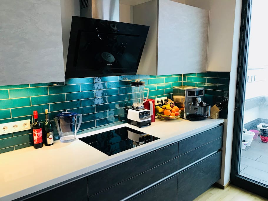 Kitchen with induction oven