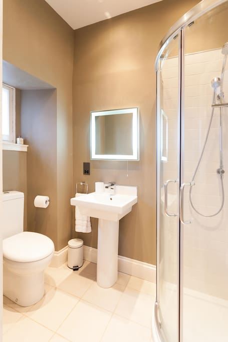 Master bedroom ensuite, with shower, sink and toilet with view across the Pentlands!
