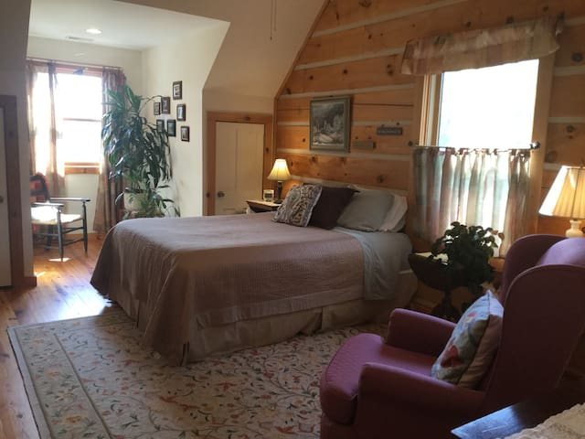 Flint Stone Mountain room, Queen size bed, private bath w/tub shower