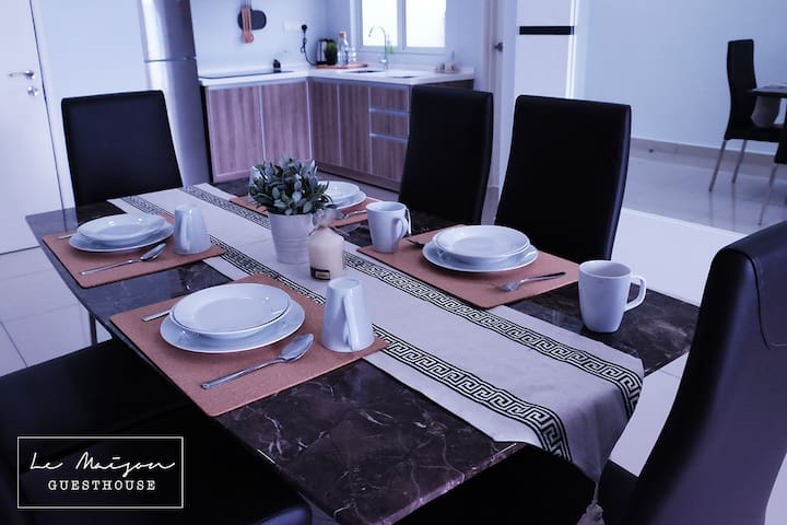Marble dining table and tableware.