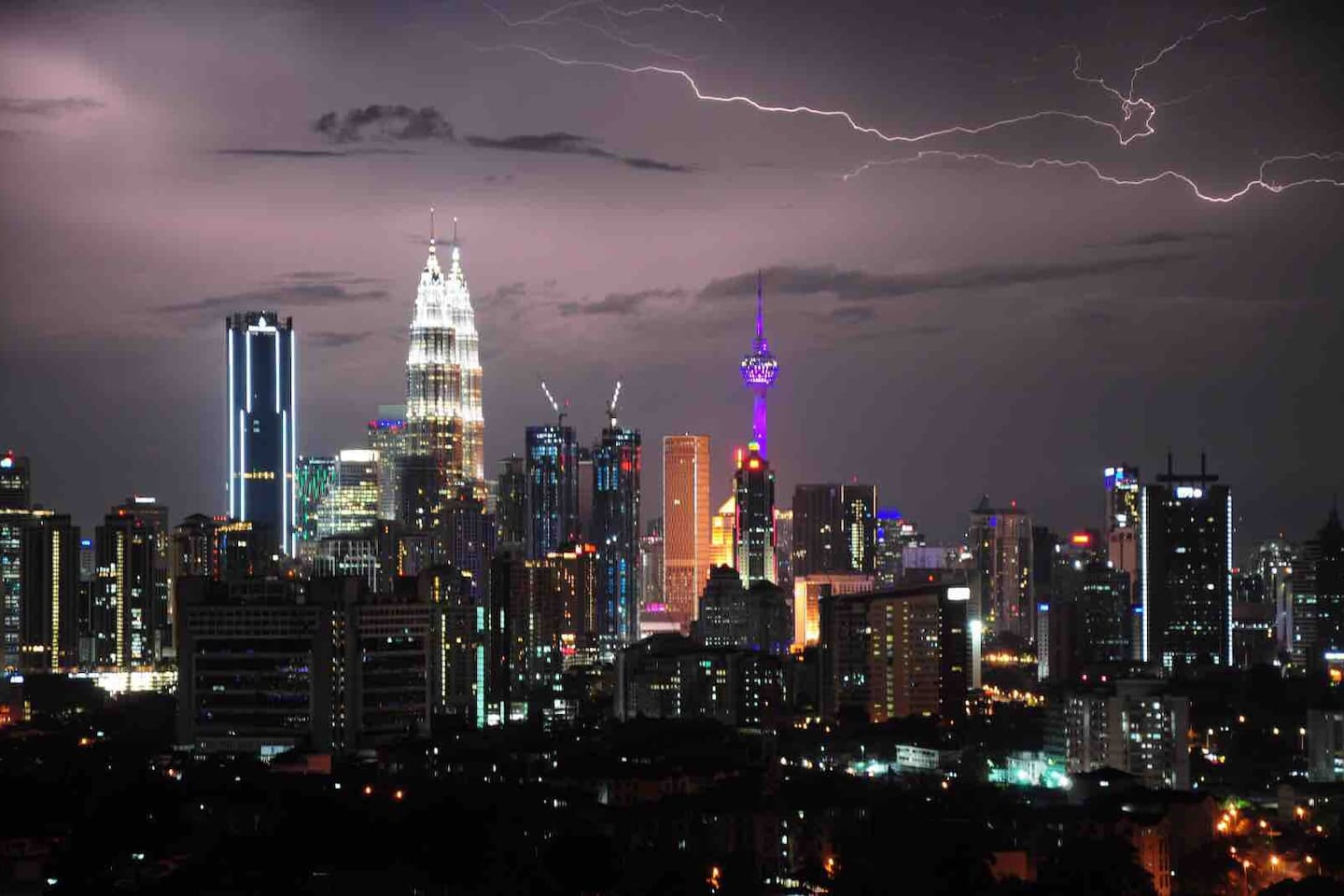 Panoramic view of the beautiful Kuala Lumpur lights from the comfort of the living room