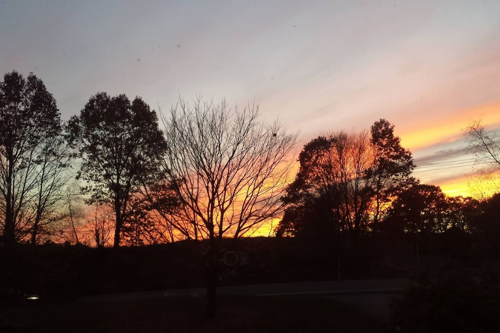 Sunset view from bedroom window in early November