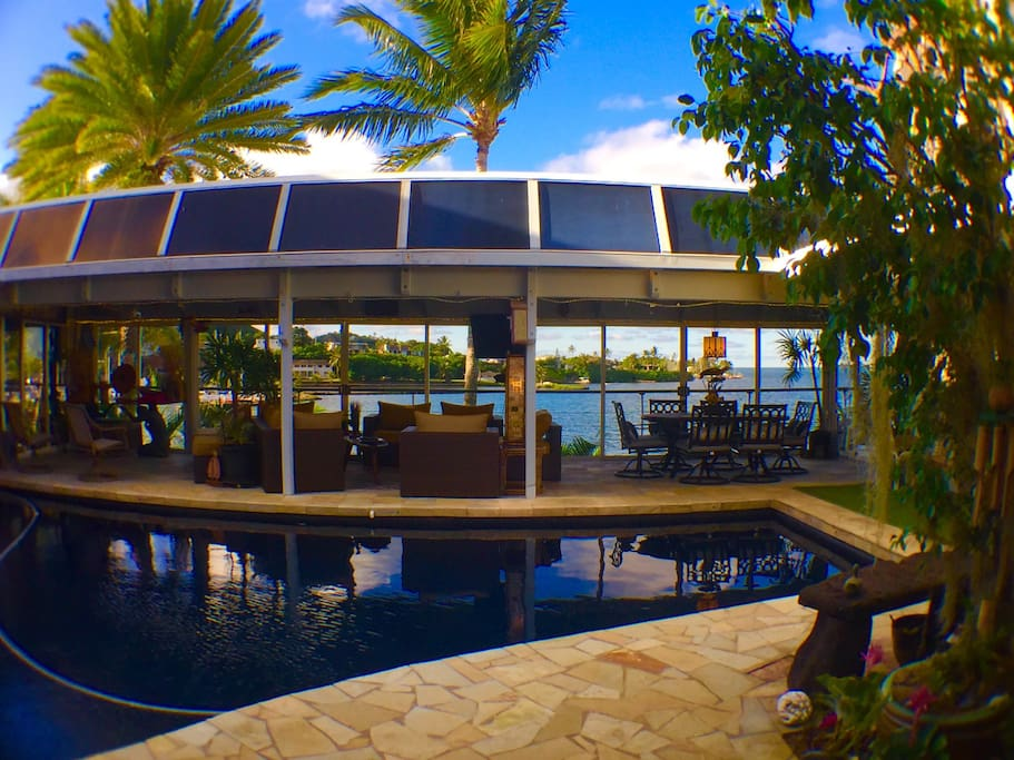 View of deck surrounding solar heated salt water pool