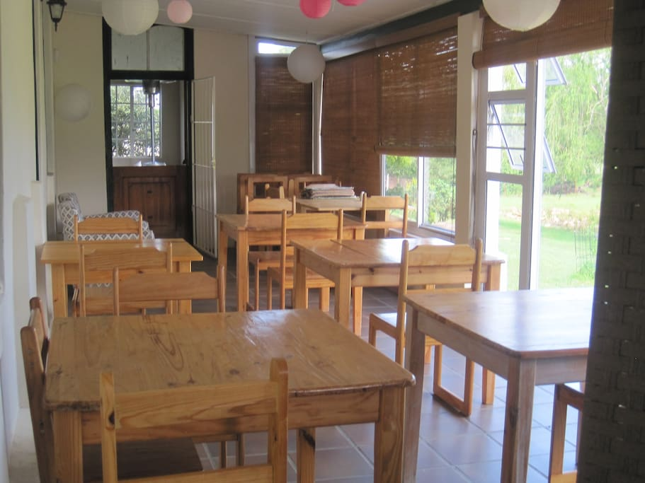 The dining area for group meals or a gathering