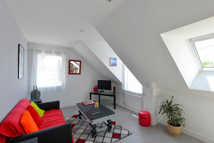 Espace salon - 2 fenêtres avec volets roulants