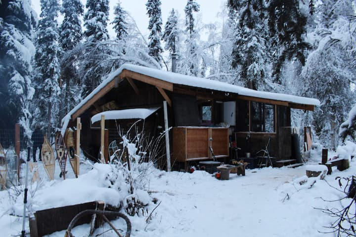 Warm up and eat lunch in off-grid cabin