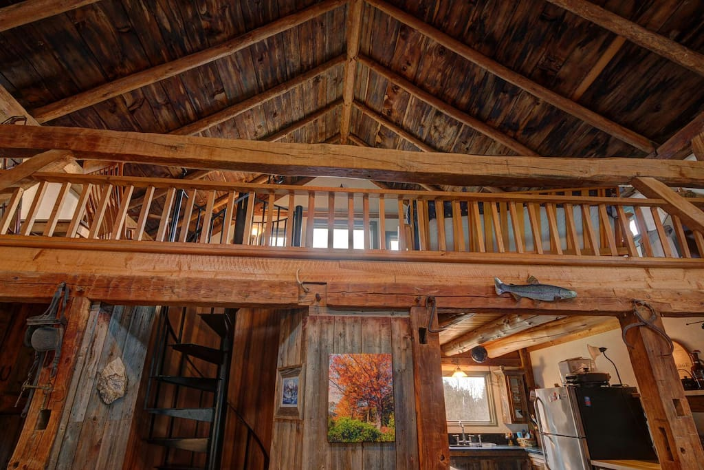 Looking up into the loft area.  Kitchen is below on the right.