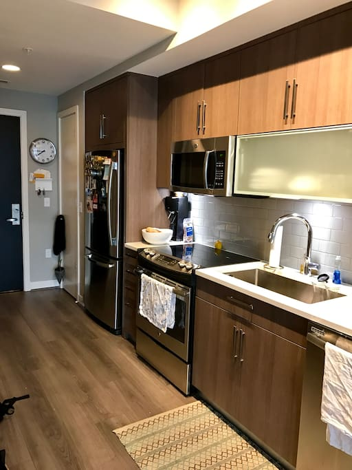 The kitchen is brand new and top of the line. It's also fully stocked with all appliances and pots/pans that you could need!