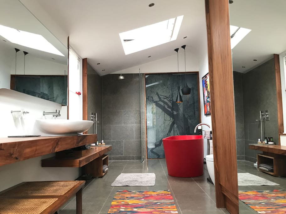 Gorgeous bathroom with soaker bath and walk in shower