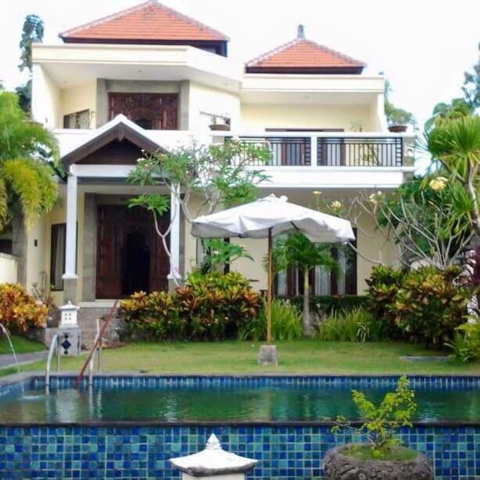 4 bdr villa 2 floors with pool, grass, big ocean view terrace, relaxing gazebo, car parking.