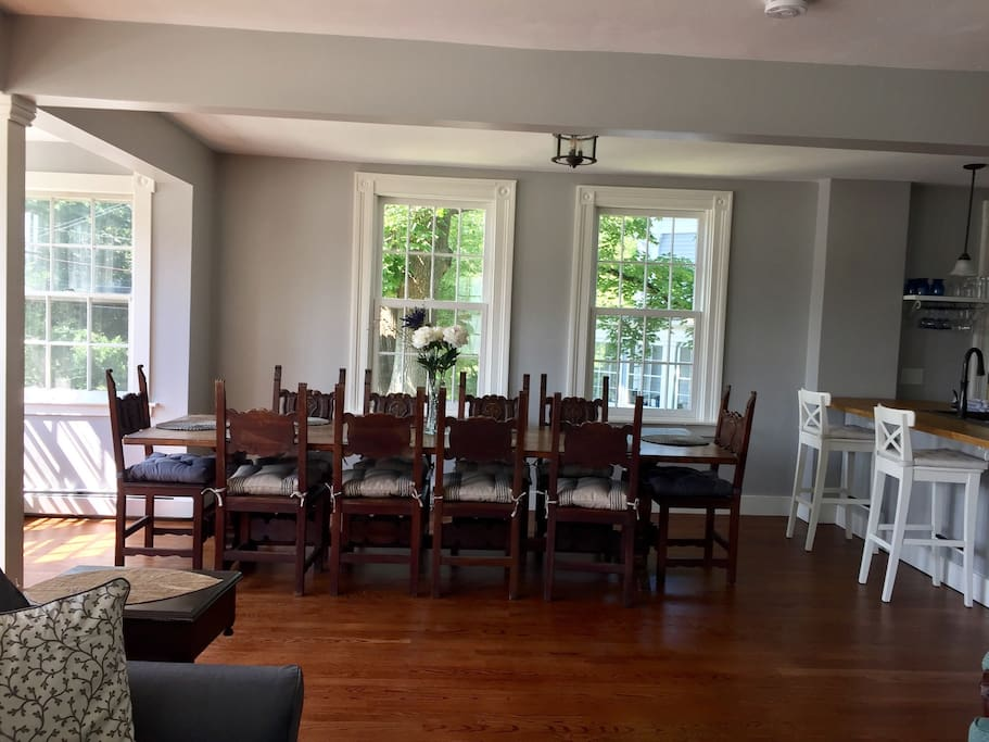 Open dining/kitchen/living space