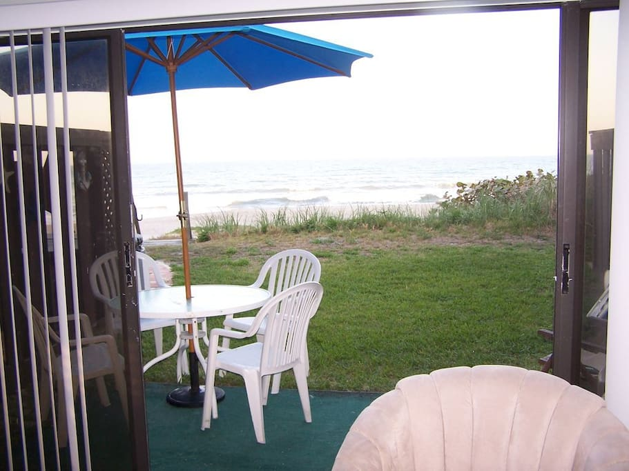 View from the back patio. The beach is right out the backdoor!