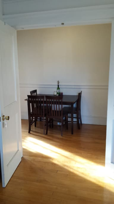Dining table in our large hallway/room junction.