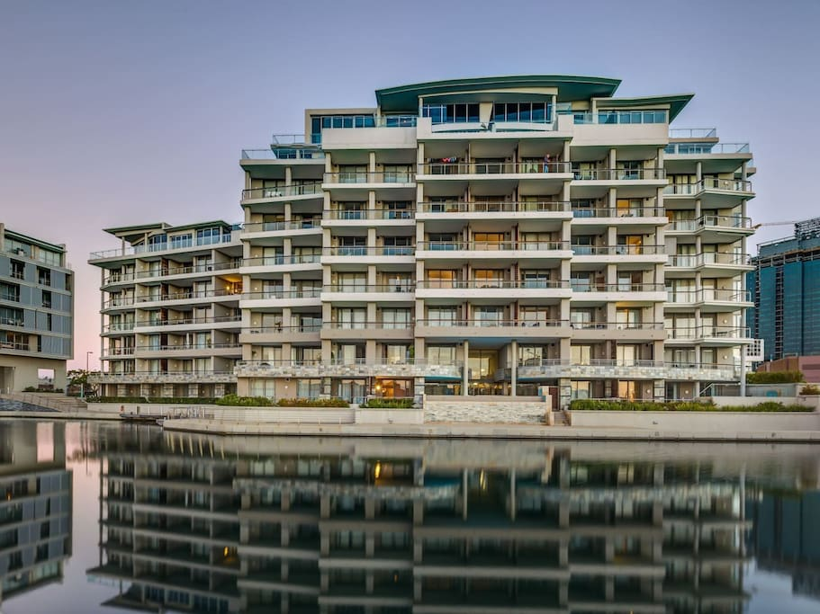 Beautiful apartment complex built over the V&A Waterfront canal