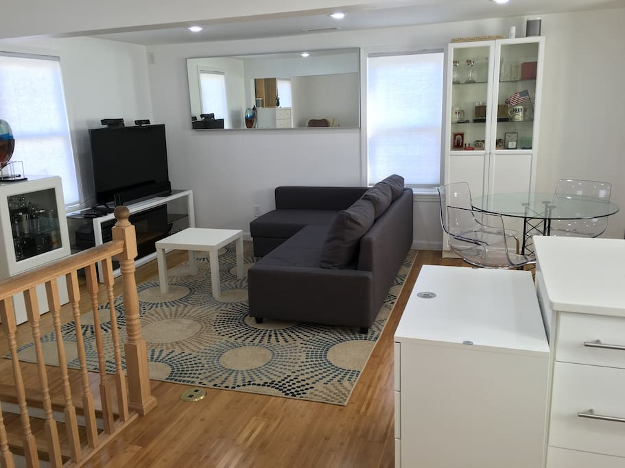 Kitchen to Living room to Dining area