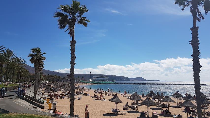 Beach with gold sand/ la  playa con la arena dorada