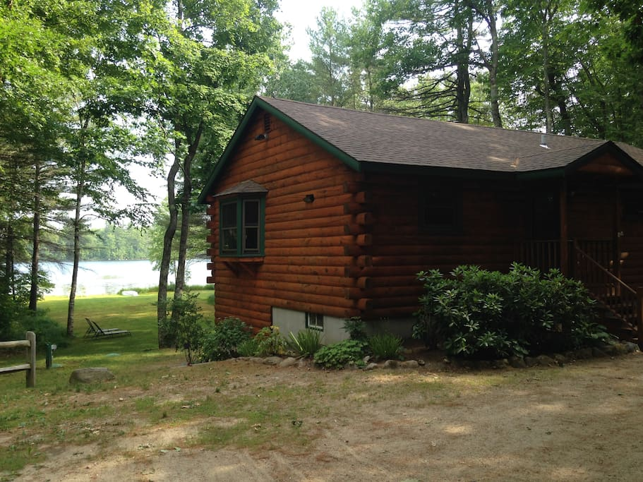 Log Home Front with Pond View