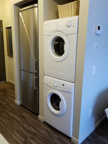 In suite laundry and full size refrigerator