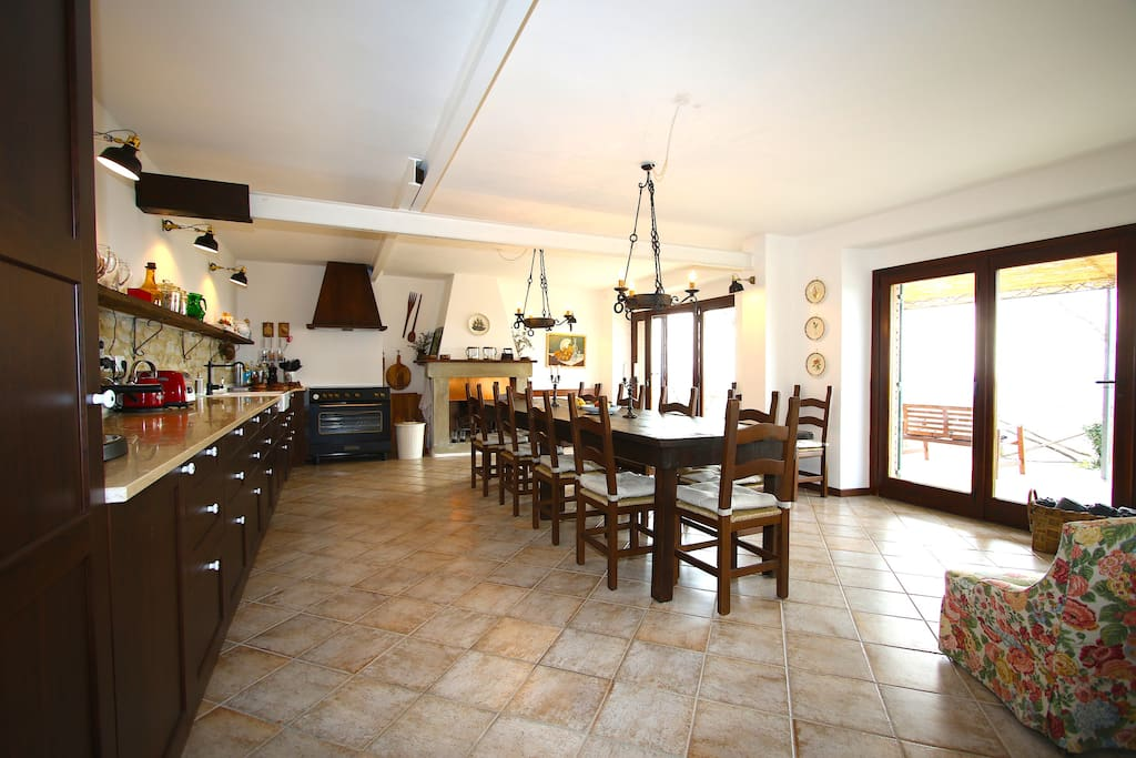 Family kitchen with fireplace - ALL equipment - place for 14 persons