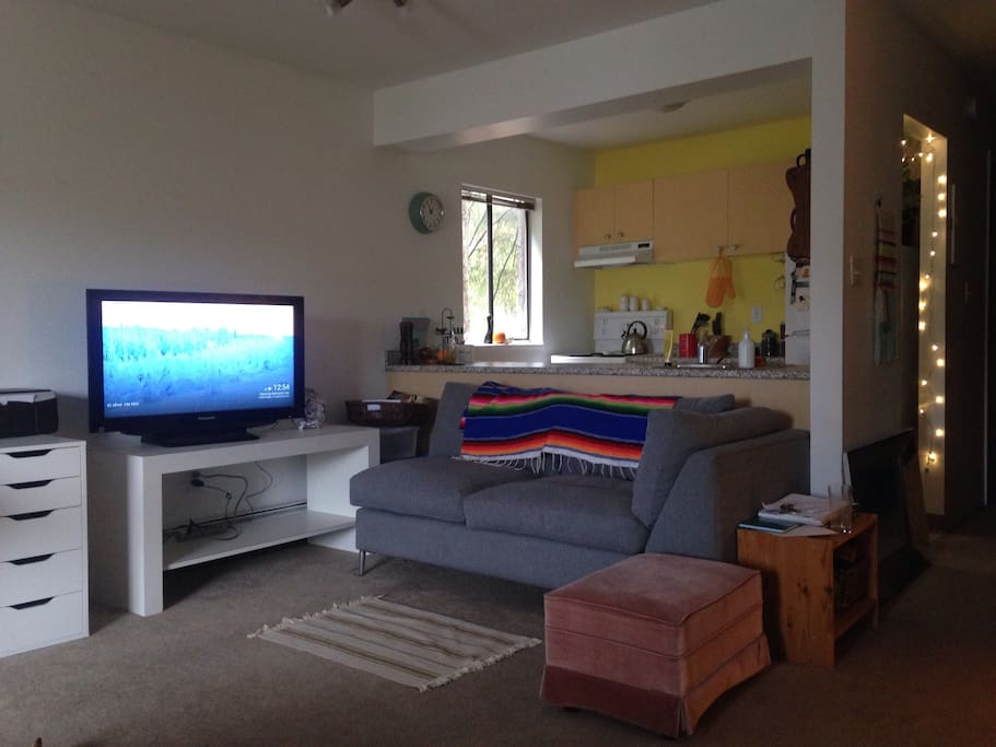 Raining? Sit back and enjoy some Netflix! 38inch TV equipped with Chromecast.