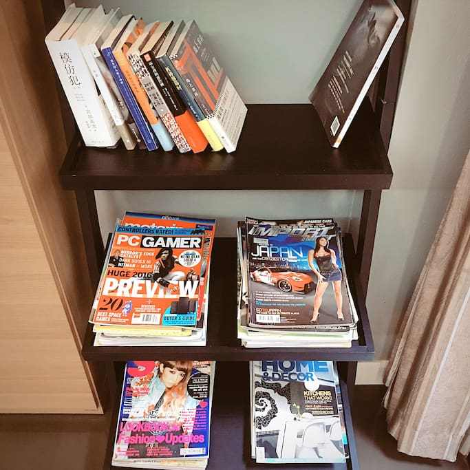 可供客人閱讀的各種雜誌以及書籍