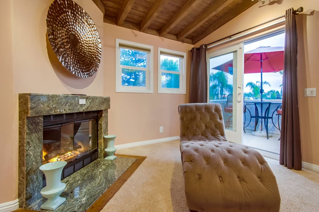 Master Bedroom, chaise lounge, fireplace, private patio