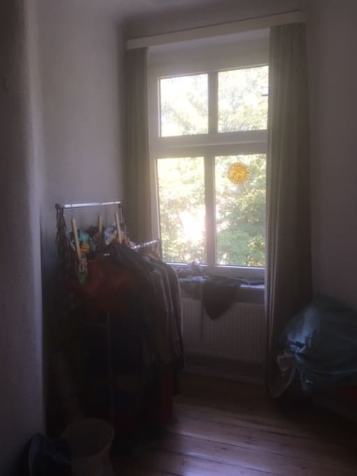 left part of the bedroom with window towards courtyard (nice because silent)