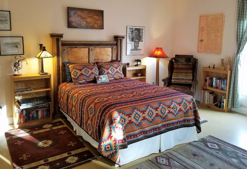 Enjoy a good night's sleep on the firm queen bed.