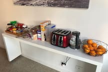 Dave's Breakfast Bar - Milk, Juice, Cereal, Bread, Butter, Various Spreads, Fruit, Tea, Coffee and Biscuits all included in Room Charge