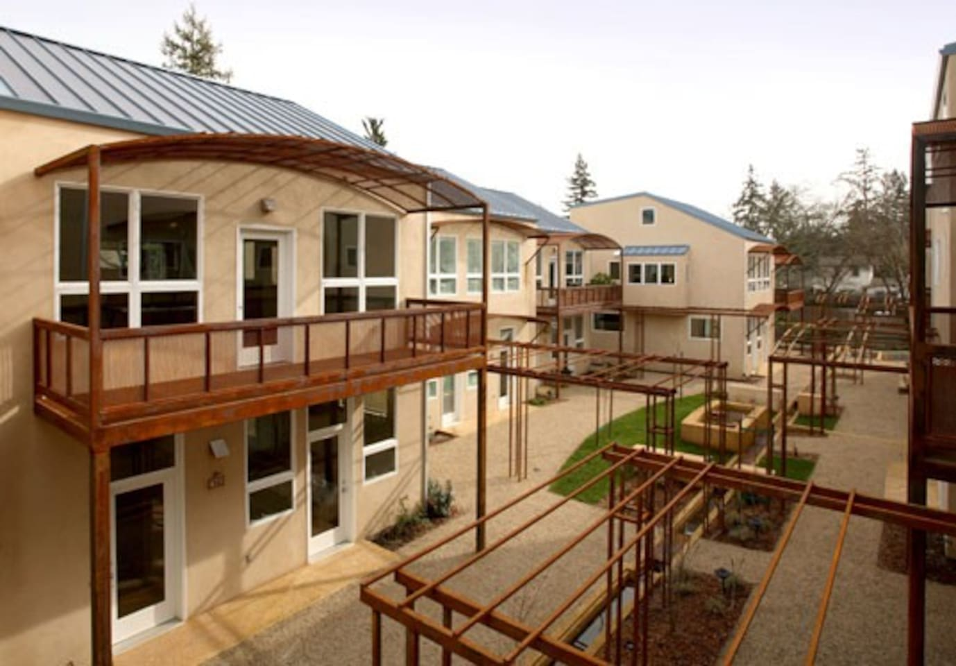 Florence Lofts, built in 2008 by renown eco-progressive developers Joe Marshall, Robert Nissenbaum and Steve Sheldon (architect), were the first LEED Gold sustainably designed live/work community in West Sonoma County/Sebastopol.
