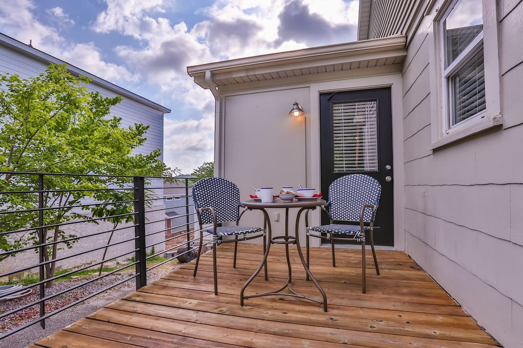Deck.  Great space for a morning coffee or to enjoy appetizers and an evening drink in the cool Ozark Mountain air.