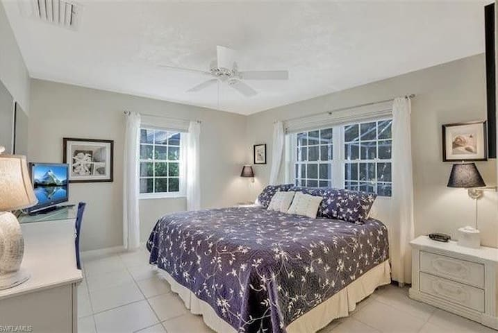 Master Bedroom with King Bed and Cable TV