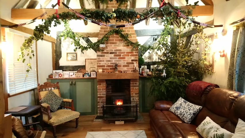 Our cosy living area at Christmas