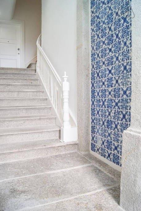 Lovely blue tile detail on the way to the stairs - Oporto Sunset Balcony