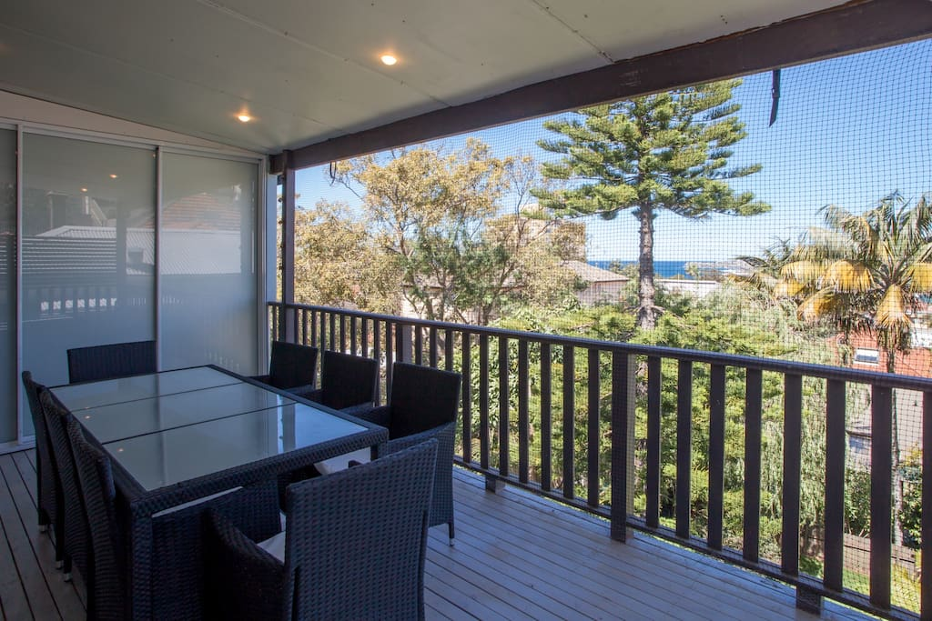 Enjoy alfresco dining with BBQ, outdoor setting on generous covered balcony with beautiful ocean views.