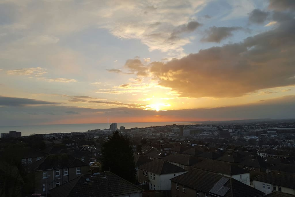 Stunning rooftop views over Brighton as the sun starts to set.