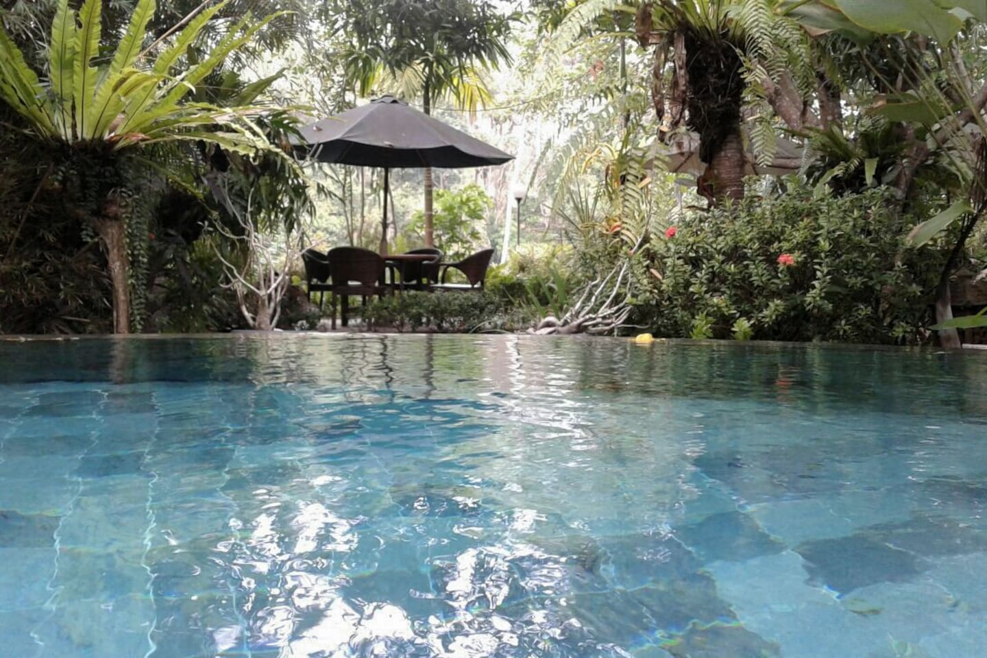 Pool with view to the sitting area beside the river